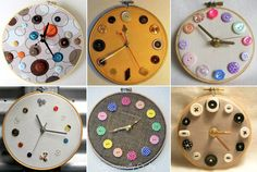 Beautiful clocks .. all you need to make is Wooden frames, canvas or heavy fabric, clockwork and buttons