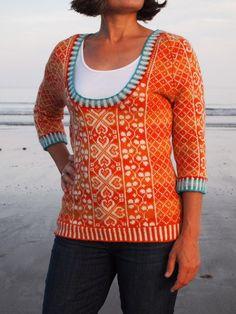 Original Patterns: Autumn Rose Pullover and Child's Panel Gansey Knitter Extraordinaire: Misa (Ravelry ID) Mods: Misa used the Autumn Rose colourwork