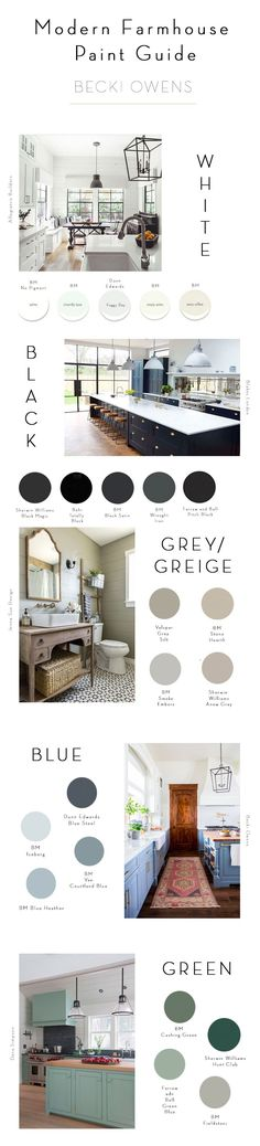 BECKI OWENS-- Modern Farmhouse Paint Guide The modern farmhouse combines clean lines, industrial touches, rustic woods, and soft colors. Today I am sharing the paint colors that get the look. Modern Farmhouse Style, Farmhouse Design, Farmhouse Decor, Industrial Farmhouse, Kitchen Industrial, Farmhouse Lighting, Country Farmhouse, Farmhouse Ideas, Farmhouse Interior