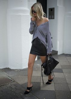 #StreetStyle #OffTheShoulder striped #Shirt #Miniskirt and #Mules