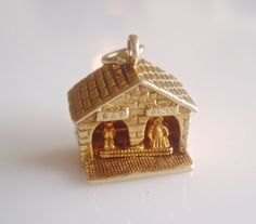 9ct Gold Nuvo Weather Vane Couple Moving by TrueVintageCharms