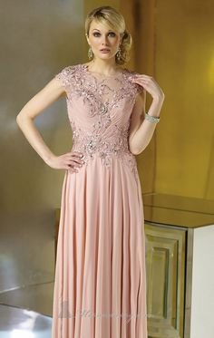 Chiffon A Line Cap Sleeves Appliqued Evening Dresses with Sweep Train 2014 Long Formal Evening Gowns Dresses