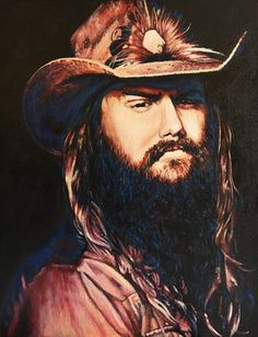 """""""The Devil Named Music"""" Acrylic painting of Chris Stapleton 20""""x20"""" by Gail Younts  https://m.facebook.com/GailYountsArtwork/"""