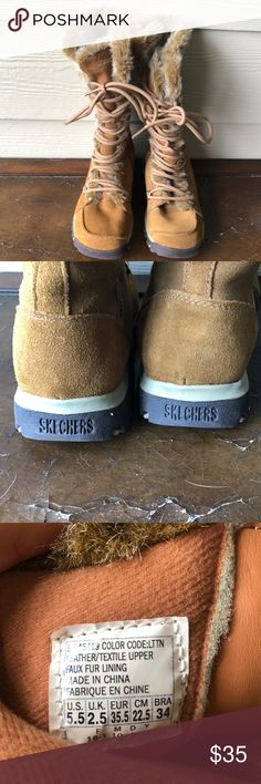 Skechers Fur-lined suede boots. Size 5.5 Golden chestnut lace-up winter boots.  Worn twice, just like new. No stains.  Warm and stylish.  I love these, but don't live in colder climes anymore! Skechers Shoes Winter & Rain Boots