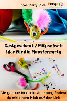 Gastgeschenk / Mitgebsel-Idee für die Monsterparty zum selbser basteln inklusive Anleitung Monster Party, Diy For Kids, German, Tutorials, Childrens Gifts, Kid Birthdays, Deutsch, German Language