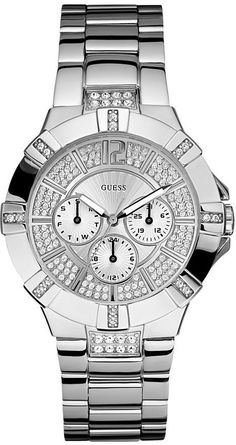 #Guess #Watch , GUESS U12601L1 Dazzling Sport Watch - Silver-tone Steel