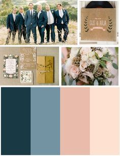 Jason wants to wear a blue suit so these colors are perfect. Blue and blush :)