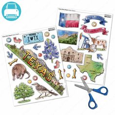 Texas state icons and landmarks printable for school projects. Cut out the shapes to decorate brochure projects historical scrapbooks, written report covers, posters... $0.95