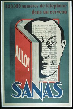 """SANAS. """"400,000 phone numbers in a cerveau.Allo! SANAS."""" Lithograph"""