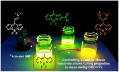 Controlling Vilsmeier-Haack processes in meso-methylBODIPYs: A new way to modulate finely photophysical properties in boron dipyrromethenes https://doi.org/10.1016/j.dyepig.2017.02.030