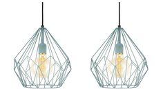 Budgetvondst: zachtblauwe draadlamp #interiorjunkie