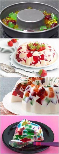 MOSAICO DE GELATINAS..LINDO E DELICIOSO!! VEJA AQUI>>>Prepare as cinco gelatinas separadas, conforme instruções da embalagem, leve à geladeira até ficar em ponto de corte. Corte em cubos e reserve. #receita#bolo#torta#doce#sobremesa#aniversario#pudim#mousse#pave#Cheesecake#chocolate#confeitaria