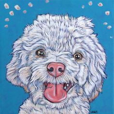 "Peanut the Maltese and Toy Poodle Mixed Breed Custom Dog Pet Portrait Painting in Acrylics on 10"" x 10"" canvas from Pet Portraits by Bethany on Etsy or PetPortraitsbyBethany.com"
