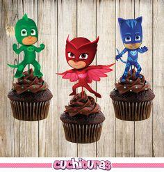 3 PJ máscaras cupcake toppers primeros de la por TusCuchituras