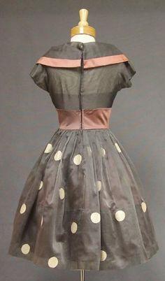 Unusual Grey Organdy & Mauve Satin 1950's Cocktail Dress VINTAGEOUS VINTAGE CLOTHING