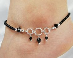 Anklet Ankle Bracelet Jet Black Swarovski Crystal Dangles Circle Ring Connectors Beaded Anklet Black Anklet Wedding Beach Vacation by ABeadApartJewelry on Etsy Silver Anklets, Beaded Anklets, Beaded Jewelry, Handmade Jewelry, Women's Anklets, Beaded Earrings, Silver Ring, Stud Earrings, Beach Bracelets