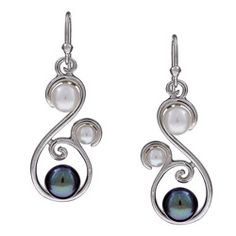 @Overstock.com - Luminous black and white pearls adorn these elegant dangle earrings in a swirling shape. Rhodium plating enhances the glow of the sterling silver on these earrings.http://www.overstock.com/Jewelry-Watches/Sterling-Silver-Freshwater-Pearl-Earrings-4-5-6-7-7-8-mm/4875333/product.html?CID=214117 $29.99