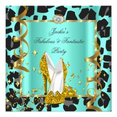 Fabulous Leopard Teal Yellow Gold Birthday Party Custom Invites