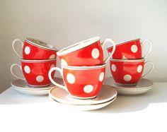 Fine China Tea Cups and Saucers Porcelain Service by MerilinsRetro