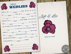 Ask your guests to fill out mad libs.