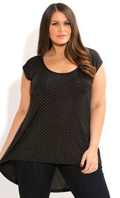 City Chic - STUD LOVE HI LO TOP - Women's plus size fashion