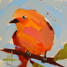 Hepatic Tanager no. 3 original bird oil painting by Angela Moulton 5 x 5 inch on panel pre-order by prattcreekart on Etsy