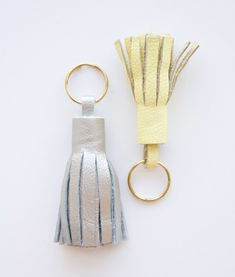 Another clever DIY: for those who love the look of leather tassel key rings but not the price. Click on the photo for the how-tos.