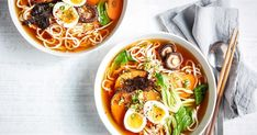 Ready in 30 minutes, this easy ramen dinner bowl is loaded with noodles, pumpkin and mushrooms and, with a hearty vegetable broth, will warm you from the inside out.
