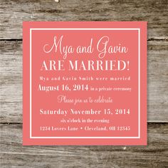 Check Yes or No Wedding Announcement/Reception Invite - Deposit Only on Etsy, $50.00