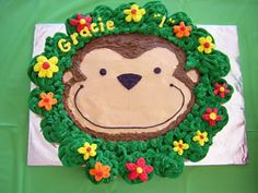 Monkey Love Cake Ideas | Birthday Cake Design Gallery- triple layer, can't do the cupcakes! add my own pic for solution...