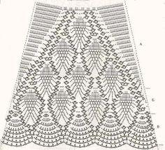 """152. Вязаная крючком юбка - схема - Вязаный крючком рисунок """"Ананас"""""""