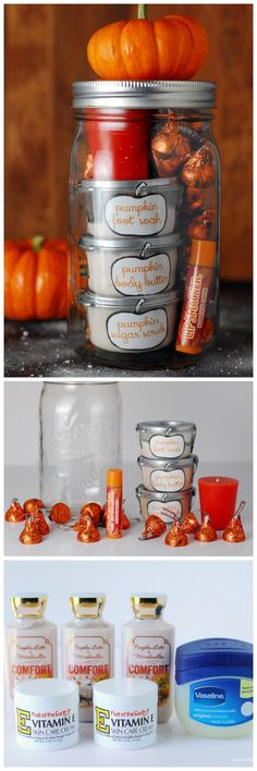 This Pumpkin Pampering mason jar gift is a homemade gift idea. It's a gift in a jar filled with pumpkin body care items, pumpkin candy and pumpkin candle!