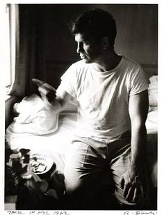 "Jack Kerouac in NYC (photograph by Robert Frank, 1962) ""What I've got to learn is my own mind, not the one that was fitted over it like a mortar-board in my booklearning. In America there's a claw hanging over our brains, which must be pushed aside else it will clutch and strangle our real selves."" (1948)"