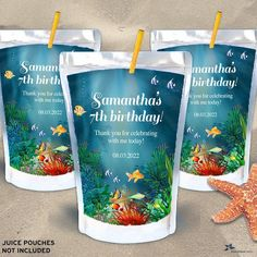 """Under the Sea Coral Reef Printable Capri Sun Juice Pouch Labels - Birthday Party, 3.5"""" x 5.25"""" Labels - Editable PDF, Instant Download Mini Wine Bottles, Wine Bottle Labels, Capri Sun Juice, Label Templates, Printing Labels, Sticker Paper, Under The Sea, As You Like, Sea Plants"""