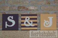 Monogramos dekoráció iker babaszobába www.ikerbababolt.hu