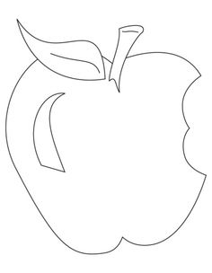 Bitten Apple With Leaf Coloring Page