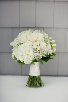 Yacht Club Wedding from Robert & Kathleen Photographers All white wedding bouquet. This is a classy, elegant look that will never go out of style.All white wedding bouquet. This is a classy, elegant look that will never go out of style. Hydrangea Bouquet Wedding, Summer Wedding Bouquets, Bride Bouquets, Bridal Flowers, Bridesmaid Bouquets, Wedding Summer, Hydrangea Wedding Flowers, Bridal Bouquet White, Wedding Dresses