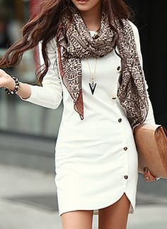 Polyester Solid Long Sleeve Above Knee Casual Dresses (1026116) @ floryday.com