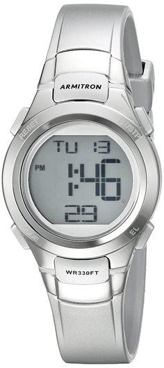 AmazonSmile: Armitron Sport Women's 45/7012SIL Digital Chronograph Silver-Tone Resin Strap Watch: Watches