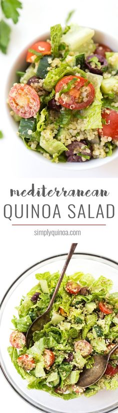Mediterranean Quinoa Salad with chopped romaine, cherry tomatoes, cucumbers, olives and a creamy herbed tahini dressing!