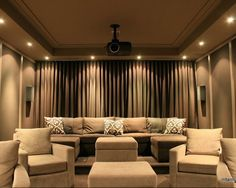 love this for a media room/theatre. a couch instead of individual seats so people (me) can snuggle.