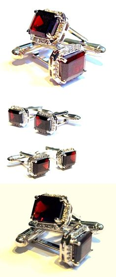 430d1cf8080 Mens Vintage Fine Jewelry 52576  New 925 Sterling Silver Fine Quality  Natural Garnet And Cz Exclusive Cuff-Links -  BUY IT NOW ONLY   130 on   eBay  vintage ...