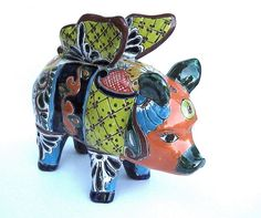 MEXICAN TALAVERA POTTERY FLYING PIG SCULPTURE 13"
