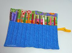 Make a pencil roll to easily store and carry pencils. Fits easily in a handbag ~ Threading My Way