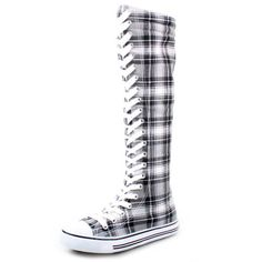 West Blvd Womens SNEAKER Boots Knee High Lace Up Flat Punk Canvas Skate Shoes, Grey Plaid Linen, US 5.5 West Blvd
