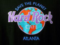 fd4b16ef Hard Rock Cafe Tee Shirt Atlanta Black XL Save the Planet World Logo Blue  Purple