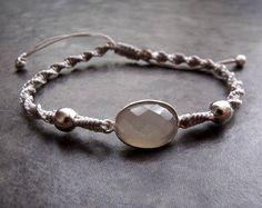 Grey Moonstone Gemstone Sterling Silver Connector Macrame