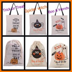 Halloween Trick or Treat Bags, Candy Sacks, Drawstring with Name in Glitter or Non Glitter Heat Transfer Vinyl, Personalized or BLANK