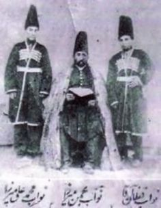 Portrait of Prince Bahman Mirza Qajar in detail  and with his two sons, Prince Mohammad Ali Mirza (left) and Prince Qoflan Agha (right), Shusha/Karabagh 1862.