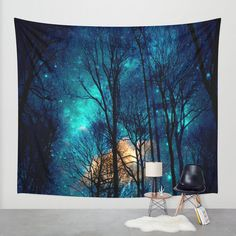 Sky full of stars wall tapestry  available in three sizes: Small: 51 x 60 Medium: 68 x 80 Large: 88 x 104  ** In the photo is the large size **